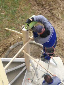 L'escalier qui devient praticable 72 heures au plus tard après son coulage